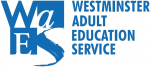 Westminster Adult Education Service logo - blue on white