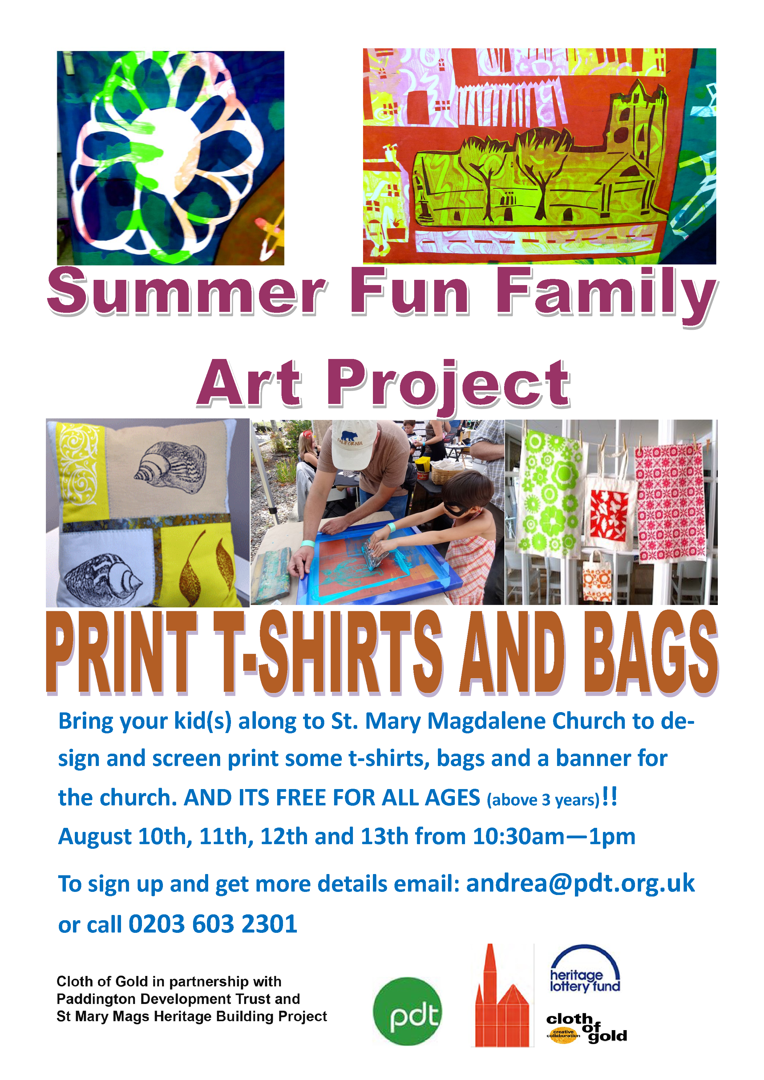 Cloth of gold - Summer Fun Family Art Project - Print T-shirts and Bags at St Mary Magdalene Church