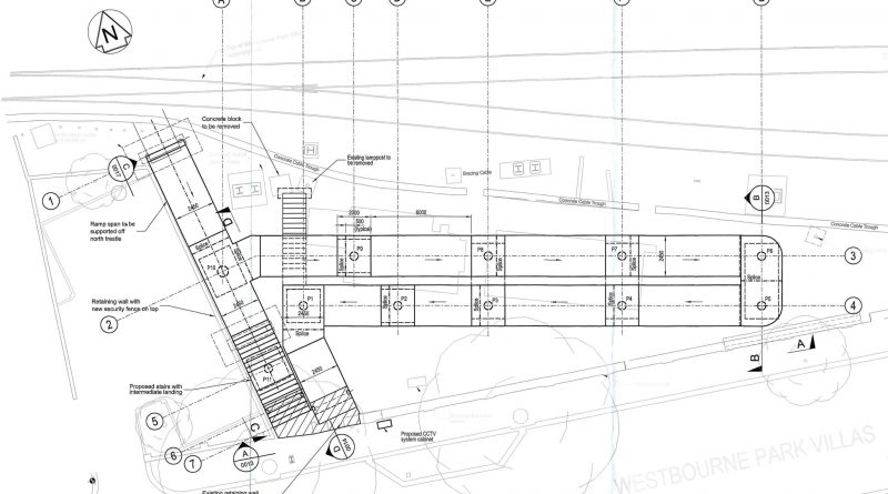 Click to enlarge diagram of Proposal for the south side of the Westbourne footbridge