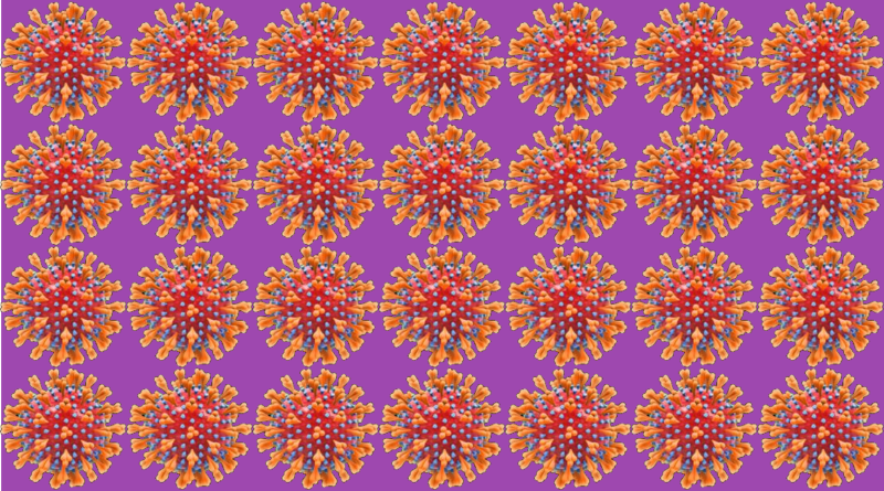 Covid 19 virus image on a grid