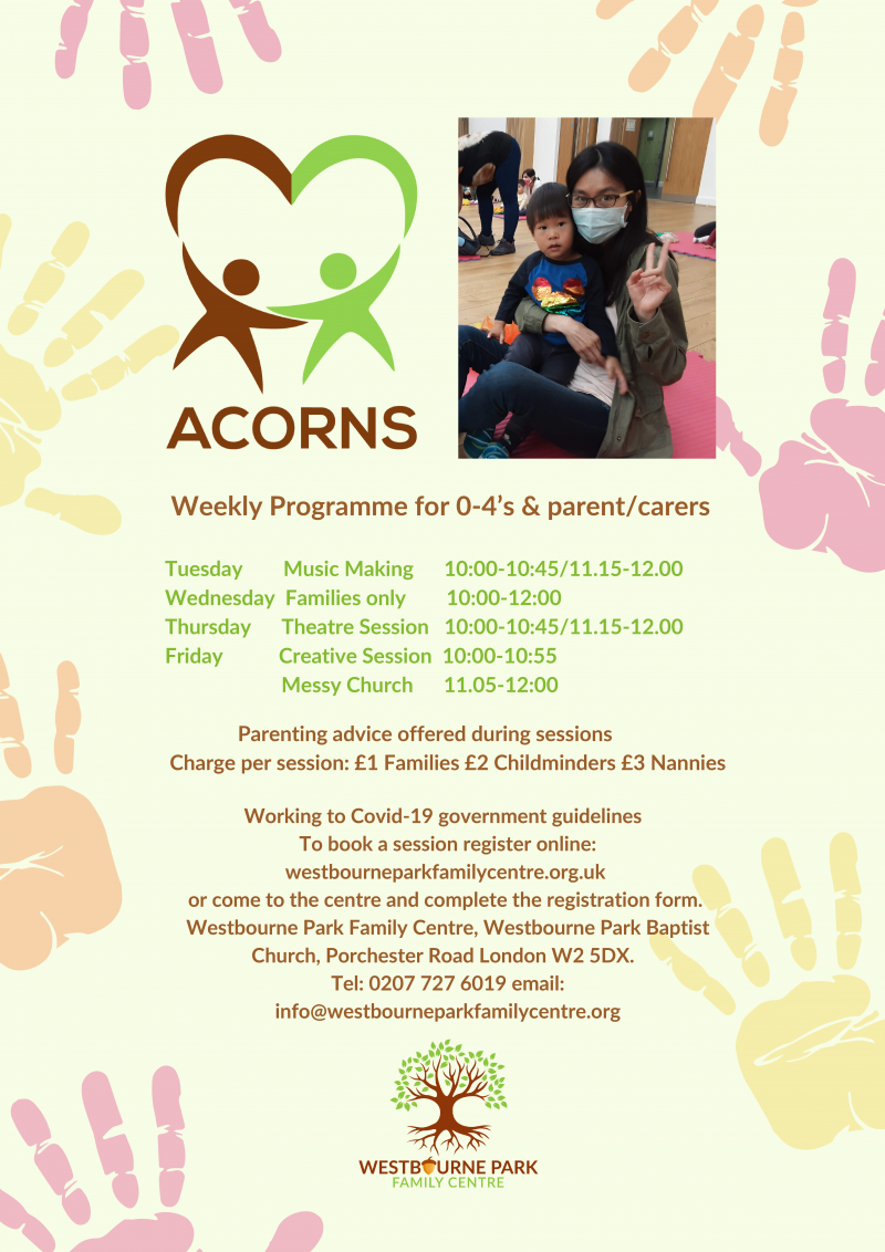 Weekly Programme for 0-4's & parent/carers Tuesday Music Making 10:00-10:45/11.15-12.00 Wednesday Families only 10:00-12:00 Thursday Theatre Session 10:00-10:45/11.15-12.00 Friday Creative Session 10:00-10:55 Messy Church 11.05-12:00
