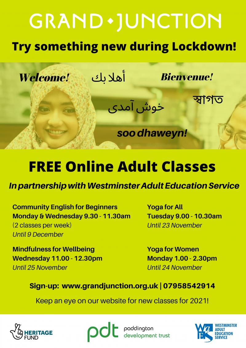 Lockdown Online Adult Classes at Grand Junction leaflet