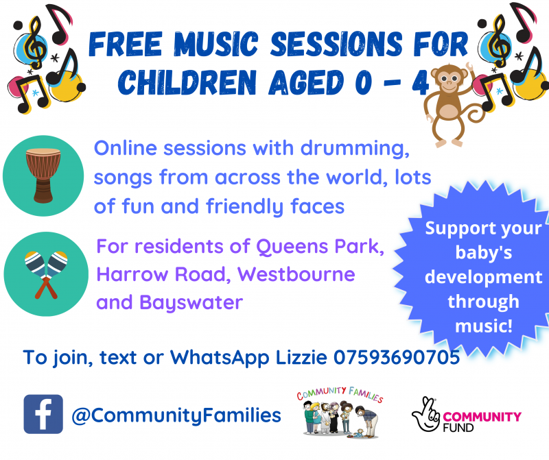 FREE MUSIC SESSIONS for children aged 0 - 4 To join, text or WhatsApp Lizzie 07593690705