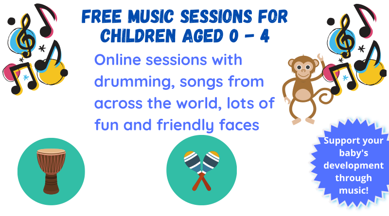 Online sessions with drumming, songs from across the world, lots of fun and friendly faces For residents of Queens Park, Harrow Road, Westbourne and Bayswater To join, text or WhatsApp Lizzie 07593690705