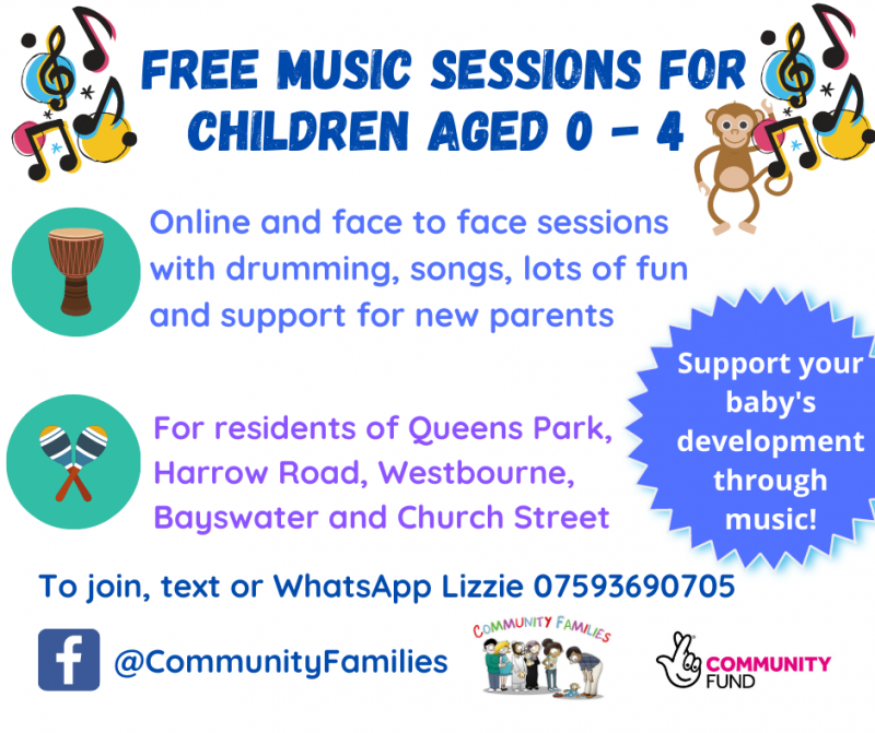 Free music sessions for children aged 0 - 4. Online and face to face sessions with drumming, songs, lots of fun and support for new parents. Support your baby's development through music!